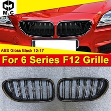 купить For BMW F06 Kidney Grill Grille Grills ABS Gloss Black M Style With Badge 6 Series 640i 640ixd 650ixd 650i Front grills 2012-17 дешево