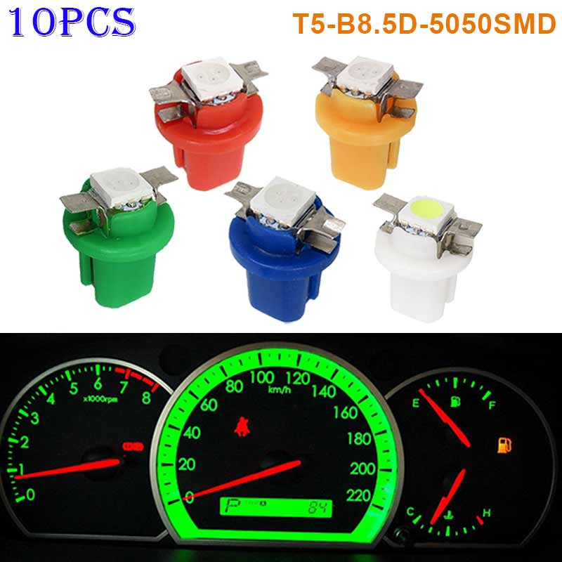10pcs T5-B8.5D-5050smd LED SMD Lamp Gauge Speed Dash Bulb Dashboard Instrument Light 12V CLH@8