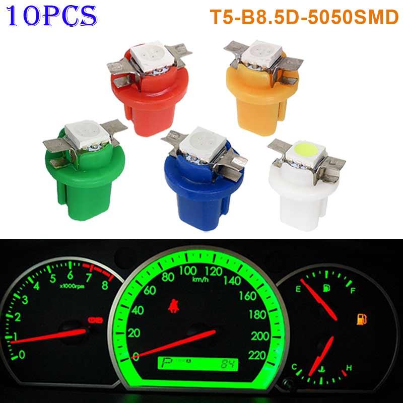 10pcs T5-B8.5D-5050smd LED SMD Lamp Gauge Speed Dash Bulb Dashboard Instrument Light 12V CLH@8