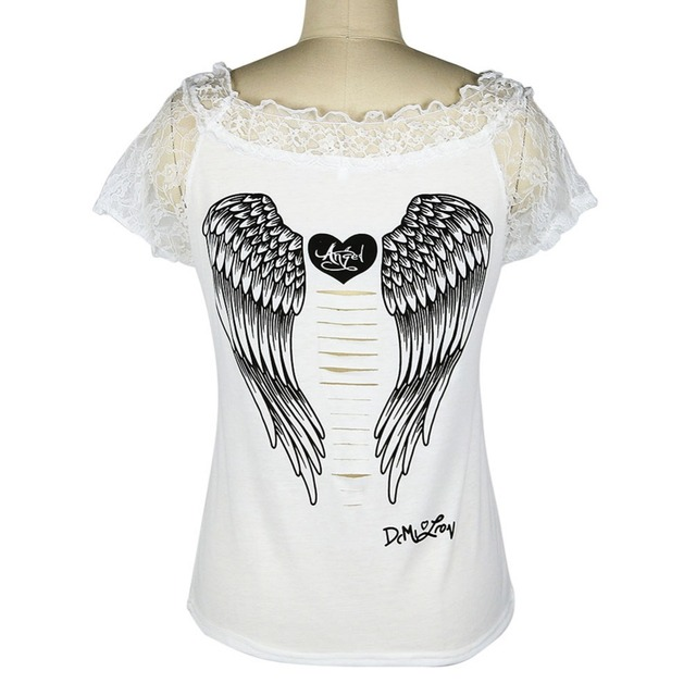 Women's T shirt Back Hollow Angel Wings T-shirt Tops Summer Style Woman Lace Short Sleeve Tops T shirts Clothing 5