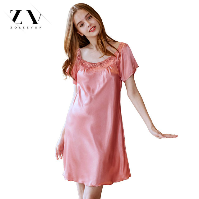 ba011ac72689 Ladies Silk Sleepwear Summer Nightgown Sexy Lingerie Pink Nightdress for  Women Satin Sleep Shirts Chemise Night Dress