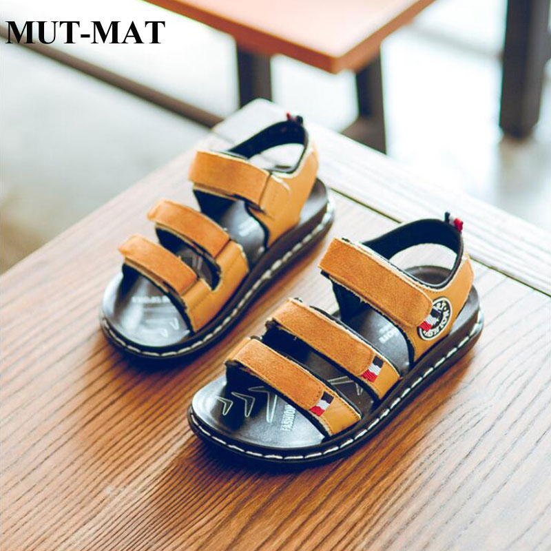 Kid Shoes Boys Beach Shoes  Leather Children's Sandals Casual Children's Soft Cow Muscle Bottom Shoes