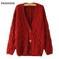Twist Cardigan Sweater Spring Autumn Winter Korean V Collar Loose Knit Cardigan Khaki Navy Blue Brown