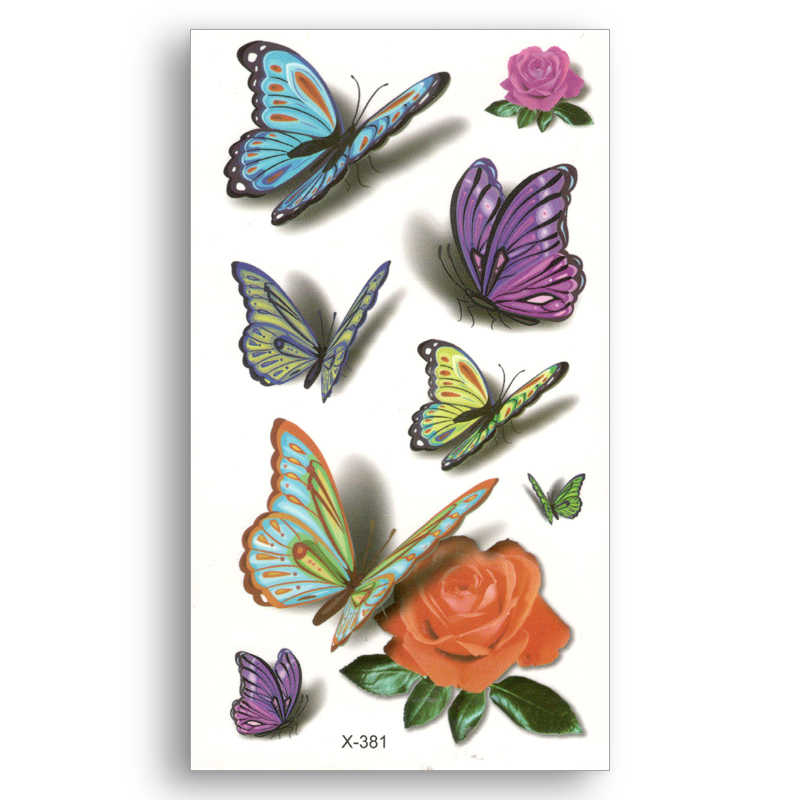 d4c3cacbc Fake temporary tattoo Water Transfer 3D colored flowers butterfly Stickers  Women Man beauty Sexy Body Art