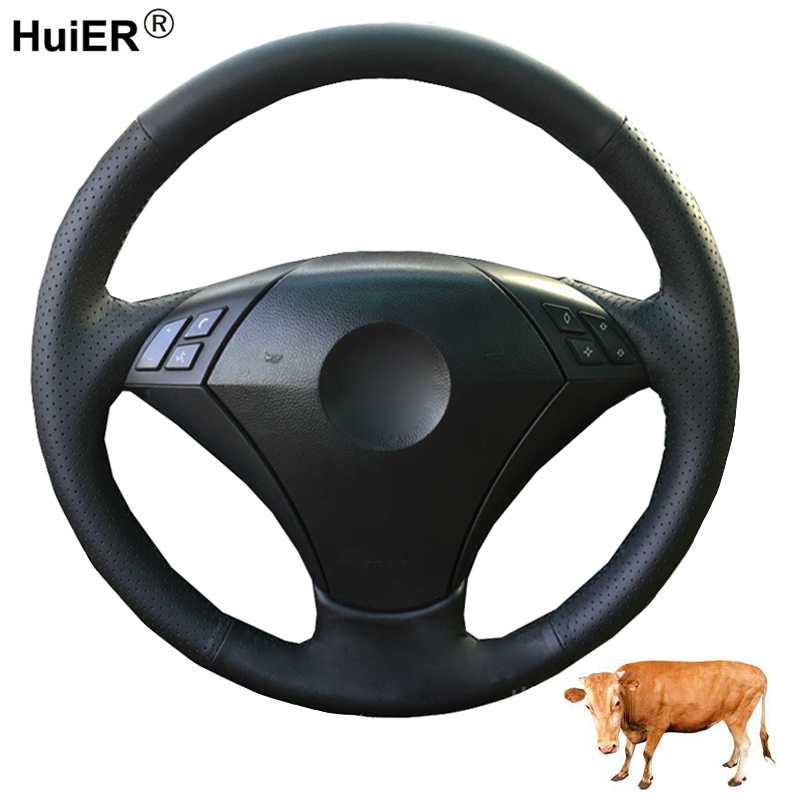 HuiER Hand Sewing Car Steering Wheel Cover Top Cow Leather For BMW E60 E61 520i 520li