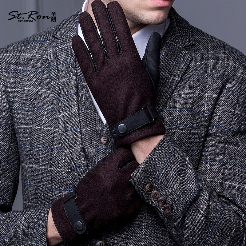 Autumn Winter Leather Gloves Male Anti-Wind Ski Touchscreen PU Gloves Hand Back Wool Cloth Driving Mittens ST8105