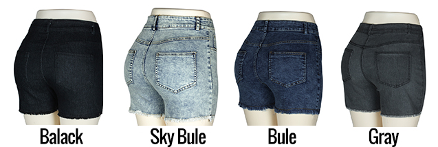 Fashion Women Push Up Skinny Slim Denim Shorts 15