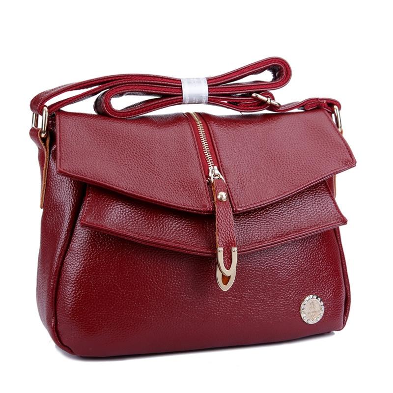 Free Shipping 2019 Genuine Leather Women's Handbags Fashion Womens Messenger Bag Shoulder Bag Ladies Crossbody Bags High Quality