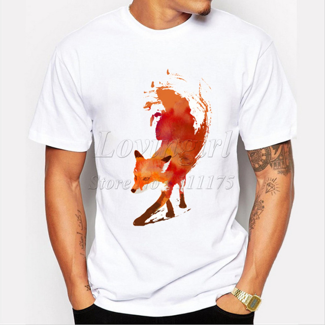 New Arrivals 2015 Men's Fashion Creative Painted Fox T