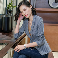 Korean fashion OL Pinstripe Blazer 2019 Casual Jacket Tops autumn Elegant Slim Split Blazer For Women Office Lady Coats