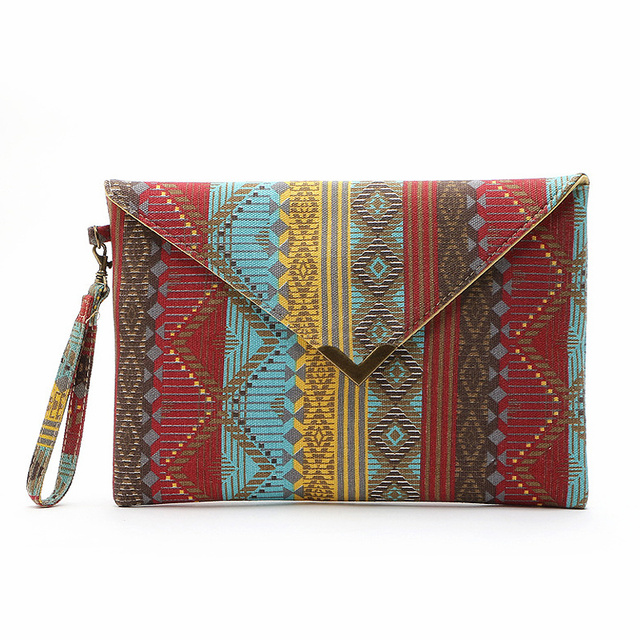 Vintage Style Geometric Pattern Canvas Bags Square Envelope Ethnic Hand Bags 2016 New Women Clutch Purse Party Handbags JXY685