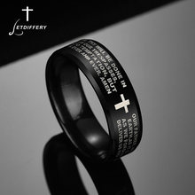 Letdiffery Scripture Cross Bible Text Jesus Tattoo Men Ring Titanium Steel Custom Engrave weods Ring Signet Ring Gift(China)