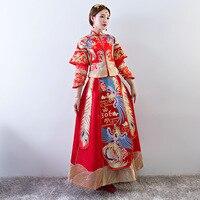 Women Traditional Gown Cheongsam Wedding Bride Red Chinese Dress Phoenix Woman Qipao Vestido Oriental Style Dresses