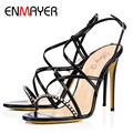 ENMAYER Sexy Women Sandals High Heels Summer Gladiator Sandals Shoes Woman Black Pink Shoes Party Pumps Women Plus Size 34-46