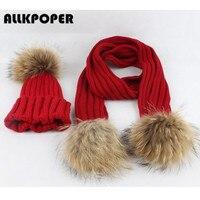 ALLKPOPER Kids Winter Warm Chunky Dikke Knit Beanie Hoeden Sjaals Real Bont Pom Pom Hoed Sjaal voor Kind Unisex hoeden