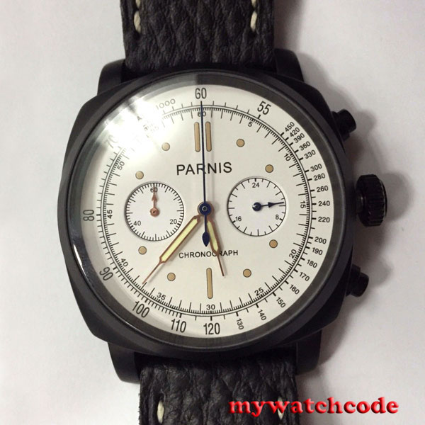 44mm Parnis white dial PVD case full Chronograph quartz mens watch P623B цена и фото