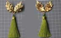Drop Shipping Vintage Brass Olive Leaf Brooch Handmade Antique Lapel Pin for Wedding Gift Tassels Badge Victorian