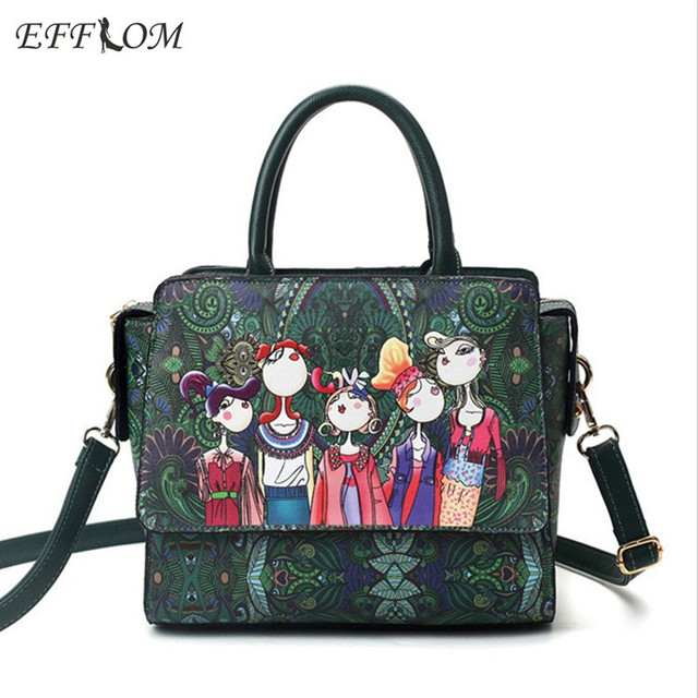 ada2324362de1 Italienische Handtasche Frauen Tasche Leder Luxusmarke Personalisierte  Persönlichkeiten Drucken Damen Handtaschen Grün Tote Büro Taschen Für