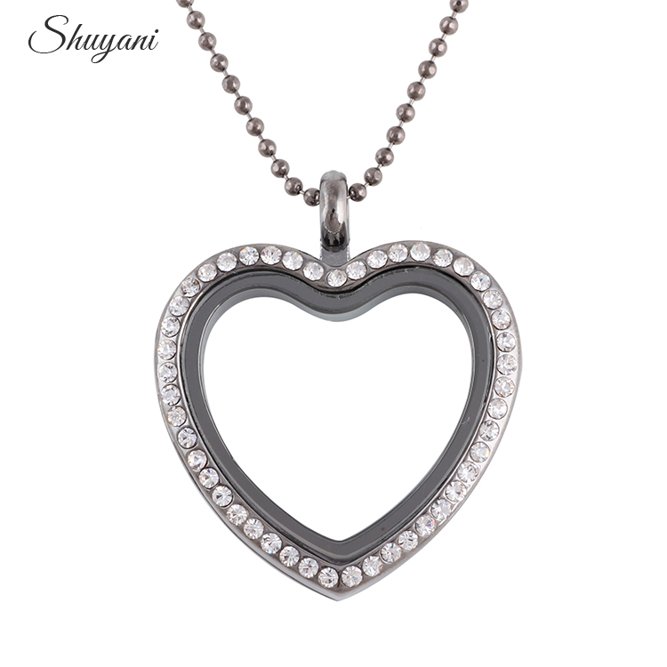 10pcs/lot Rhinestone Alloy Heart Floating Locket Necklaces & Pendants - Fashion Jewelry - Photo 4