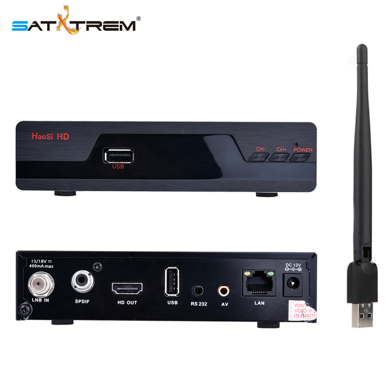 Satxtrem IP S2 1080P DVB-S2 Digital Satellite Receiver TV Tuner Support Wifi HD AC3 Youtube IKS Power Vu Biss Key With USB WIFI full hd dvb t2 s2 combo decoder wifi satellite receiver iks cccam youtube biss key power vu terrestrial satellite combo tv box