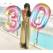 32inch Gradient Color Digital Birthday Party Decoration Foil Balloon Rainbow Number Children Gift Toy