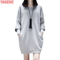 YAGENZ Mùa Xuân Mùa Thu T-Shirt Nữ Dài Tops kích thước Lớn Loose phụ nữ trẻ Dài tay áo O Cổ Cánh Dơi Tay Áo Áo Khâu 782