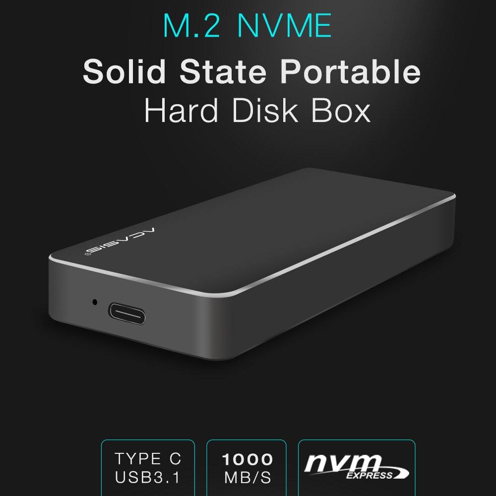 NVME PCIe USB3.1 Box e Alloggiamenti per HDD M.2 2280 SATA SSD HDD Box, tipo ad alta velocità-C USB 3.1 NVME A Stato Solido Hard Disk Caso HDD 1000MBS