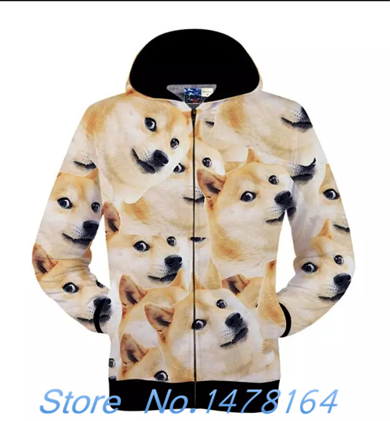 New Japanese DOGE Meme Jacket Funny Joke Dog Casual Hoodie Sweatshirt Uniex Coat Free shipping