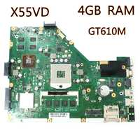 X55VD_MB_4GB RAM_GT610M Graphics card Laptop motherboard REV2.2 For ASUS X55V X55VD X55C Notebook mainboard fully tested