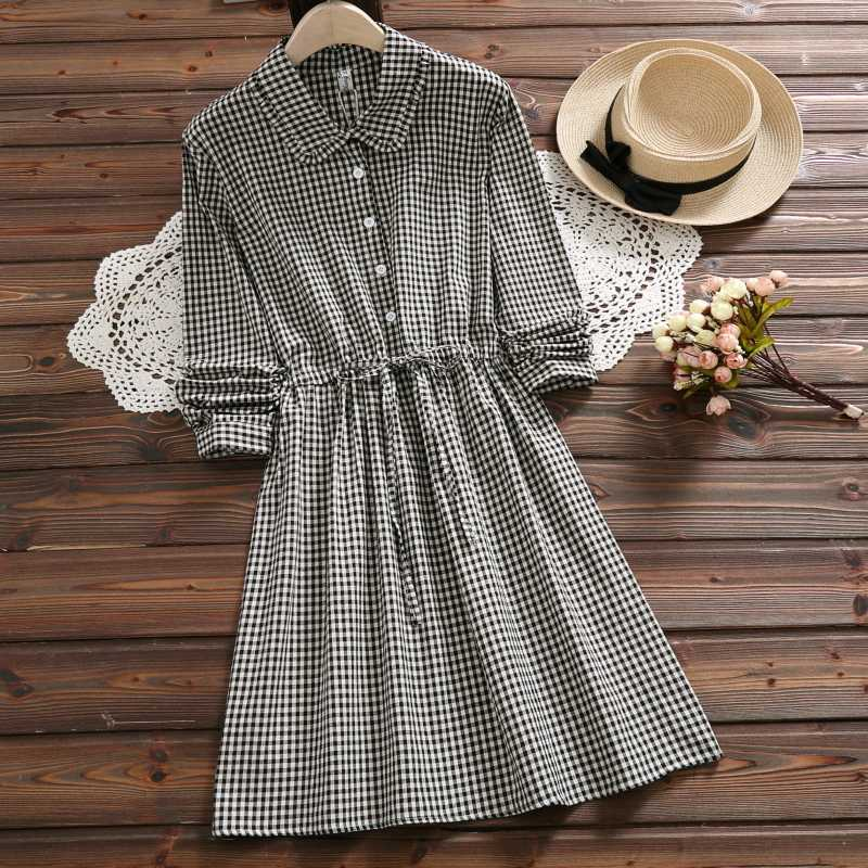 98c957020eb Japanese Mori Girl Spring Autumn Women Mini Dress Vintage Plaid Buttons  String Casual Femme Robe Elegant