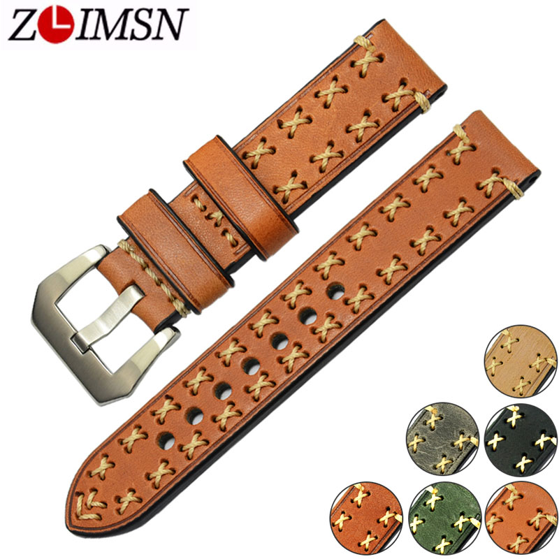 ZLIMSN Universal Watch Strap Brown Genuine Leather Watchbands 20mm 22mm 24mm 26mm Bracelet Metal Buckle Watches Accessories zlimsn alligator leather watch bands strap watches accessories 20 22mm black brown genuine leather watchbands butterfly buckle