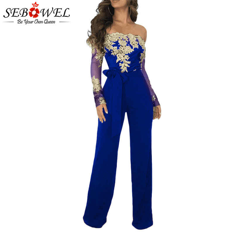 6036b4f446e4 SEBOWEL Wide-leg Jumpsuit for Woman Autumn Spring 2019 New Lace Off the  Shoulder Sheer