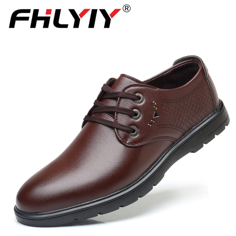 Men Pu Leather Flat Classic Shoes Pointed Toe Business Lace Up Shoes Black Brown Hombre Mocassin Homme