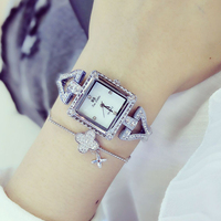New Sale Famous Brand BS Luxury Lady Full Diamond Bling Bracelet Watch Korea Style Square Crystal