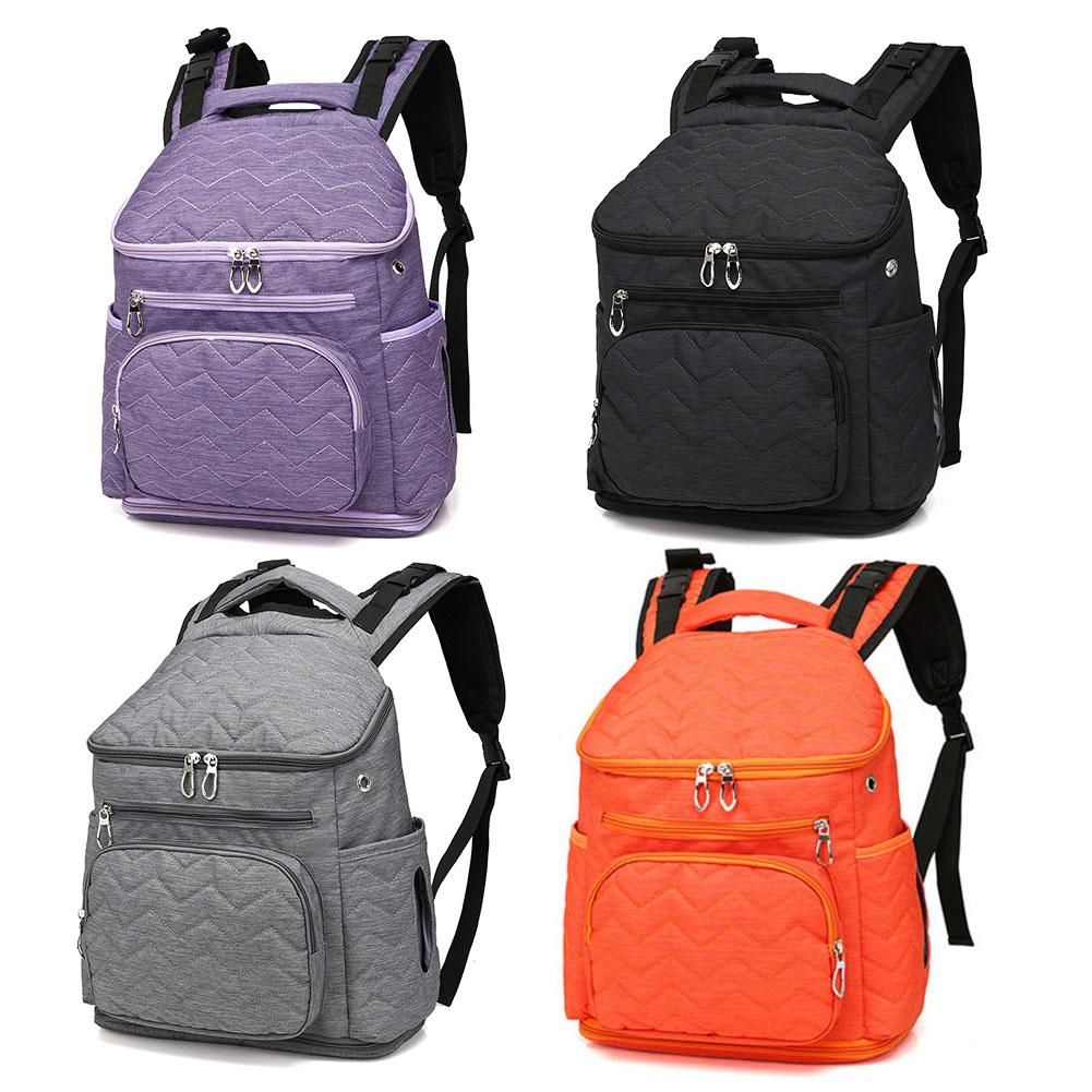 Fashion Mummy Bag Baby Care Nappy Backpack Nylon Nursing Bottle Nappy Backpack Large-cap ...