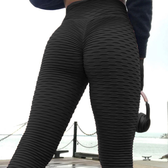 c2c9c53a75f76 3 4 capri Women scrunch back leggings anti cellulite workout pants fitness  High waist clothes Plus size femme trousers push up