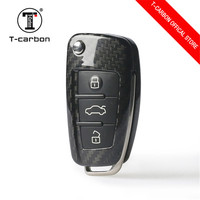 Real Carbon Fiber Car Folding Remote Flip Key Case Cover Shell Bag For AUDI Car A1 A3 A4 A6L A8 Q3 S3 S6 TT Car styling