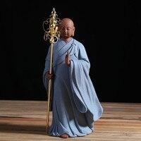 Дзен Будда Амитабха монах татхагата фигурка Керамика Desktop фэн шуй Zen украшения Чай церемонии Интимные аксессуары Чай Pet Домашний Декор