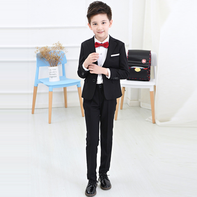 4Pcs Boys suits for weddings Kids Prom Suits Black/White Wedding ...
