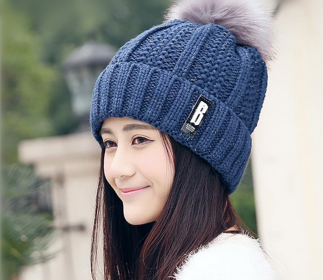 2016 newest fashion elegant knitted cap winter add hair thickening the wool hat B Ms. MAO qiu flanging thermal knitted cap