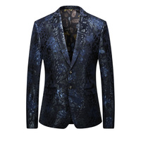 Men's jacket spring and autumn new men's fashion slim hot gold jacket men's new business formal suit ball party dress