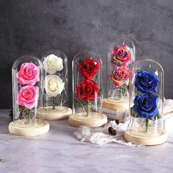 Led Beauty Rose Lamp Romantic Beast Battery Powered Red Flower String Light Desk Lamp Birthday Wedding Lamp Valentine's Day Gift