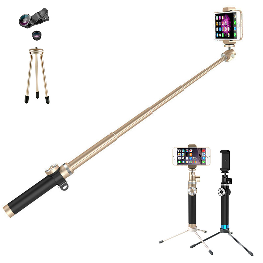 Aluminum alloy 212-912mm foldable and extendable bluetooth selfie stick with 3 in 1 lens portable monopod for iphone and android