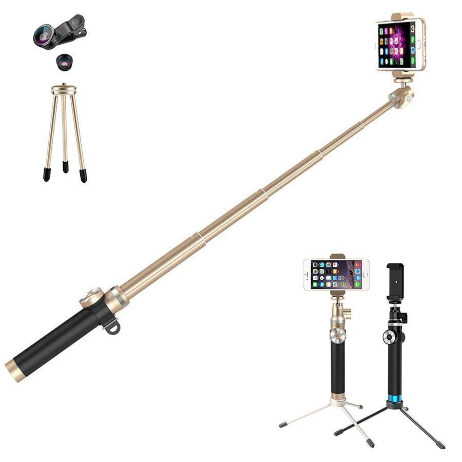 En alliage d'aluminium 212-912mm pliable et extensible bluetooth selfie bâton avec 3 en 1 lentille portable manfrotto pour iphone et android