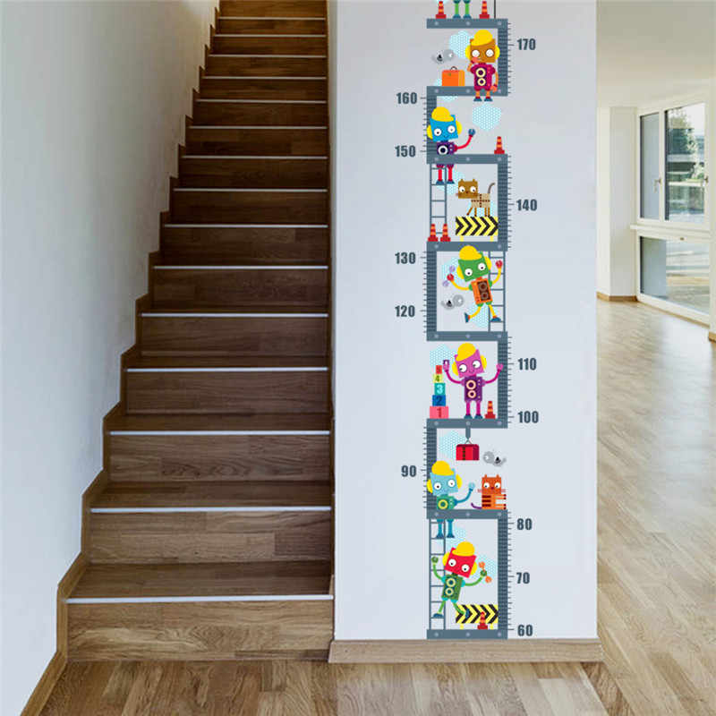 Robot Upstairs Height Measure Wall Sticker For Kids Children Room Decor Growth Chart Wall Decal Art Boy's Room Decor