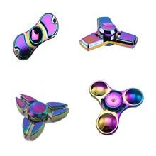 Rainbow Tri-Spinner Fidget Spinner Hand Spinner Torqbar Brass Ceramic Bearing Rotation Time Long Anti Stress Toys Focus Gyro Toy