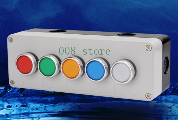 5 hole button switch, waterproof box, self reset button, industrial control box, 22mm