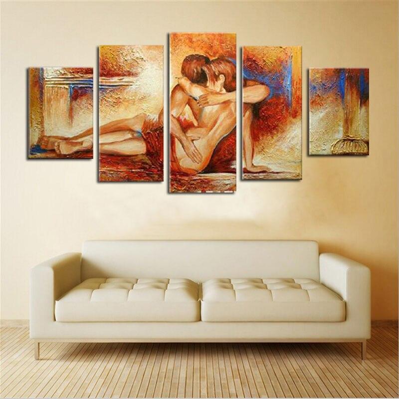 ᐂDesnudo desnudo pareja amor abrazando artística lienzo arte ...