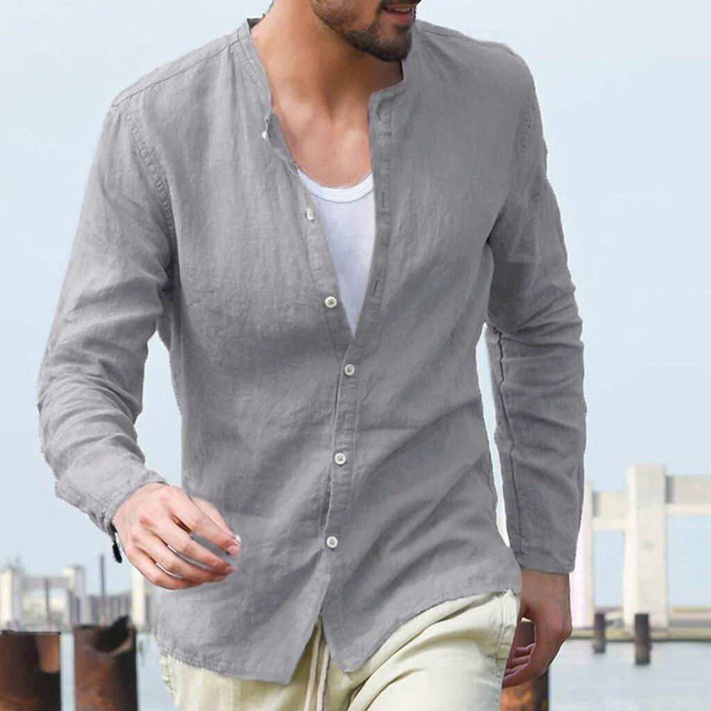 2019 Summer Men's Baggy Cotton Linen Solid Button Long Sleeve Retro Tops Blouse Hawaiian Shirt Camisas Hombre Manga Larga