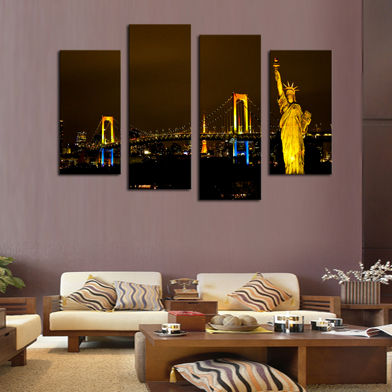 Hot Sale New Paintings Wall Art Unframed 4 Piece Modern City Home Wall Decor Canvas Picture Art Hd Print Painting On For Decor